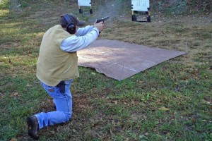 Bob shoots from kneeling position